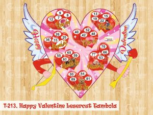 Happy Valentine lasercut tambola valentine's day kitty party games